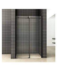 Wiesbaden schuifbare nisdeur 2-delig 110x200cm 8mm Nano mat zwart