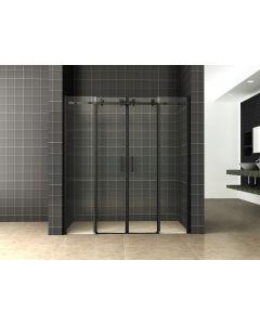 Wiesbaden schuifbare nisdeur 4-deurs mat zwart 180x200cm Chroom 8mm NANO glas