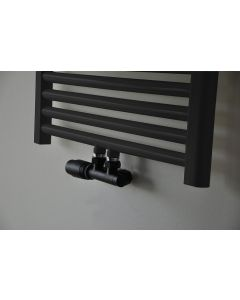 Wiesbaden  set thermostatisch onderblok haaks-links mat-zwart
