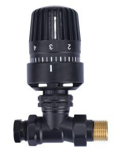 """Wiesbaden thermostatisch radiatorventiel 1/2""""x15mm recht mat zwart"""