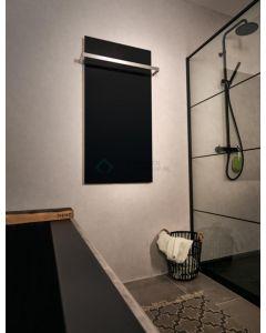 Handdoekrek zwart tbv elektrische glasradiator 3422