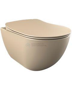 Creavit rimoff ophang wc zonder sproeier (bidet), cappucino mat