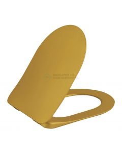 Flat wc-zitting goud duroplast, quick release, inox scharnieren, softclose