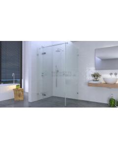 Deur aan zijdeel+zijwand, 8mm glas cnc geslepen, max.120x120x200 (deur max. 7 cm) chroom beslag 3362