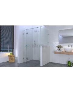 Deur aan zijdeel+verkorte zijwand: 8mm glas, max.120x120x200 (deur max. 75 cm) chroom beslag 3367