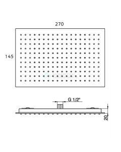 Pure - regendouche inbouw rechthoek 27x14,5x2 cm chroom 3214
