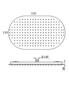 Pure - regendouche inbouw ovaal 33x23x2 cm chroom 3216