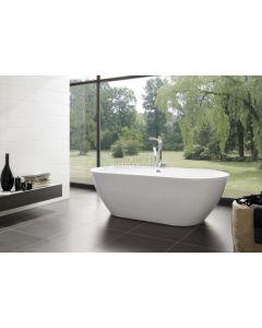 Rens XS  155x75x60  Bicolor edelweiss/cement met afvoer/overloopcombinatie zwart mat 4837