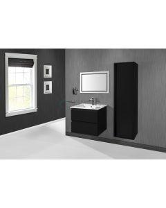 Ced'or Cindy onderkast met solid surface wastafel met 1 kraangat 60 cm mat zwart ( exclusief kolomkast en spiegel )