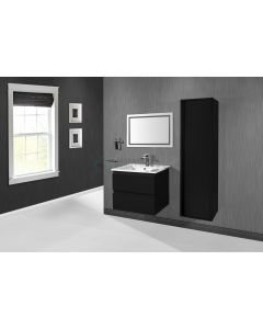 Ced'or Cindy onderkast met solid surface wastafel met 1 kraangat 80 cm mat zwart ( exclusief kolomkast en spiegel )