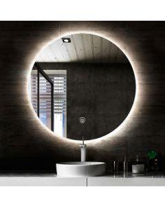 Cedor Circle ronde spiegel met LED verlichting 90cm incl, spiegelverwarming