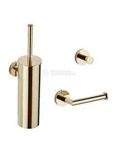 Saniclear goudkleurig toilet accessoire set incl toiletborstel, rolhouder en haak