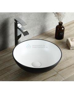 Cedor Raja waCDom 40cm wastafel rond wit met zwarte buitenkant