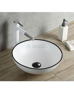 Cedor Raja waCDom 40cm wastafel rond wit met zwarte lijn
