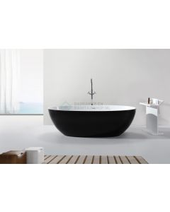 Cedor Stilo vrijstaand bad solid surface mat zwart - wit 178x92x55cm