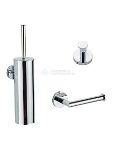 Saniclear chroom toilet accessoire set incl toiletborstel, rolhouder en haak