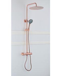 Cedor opbouw regendouche 30cm met thermostaatkraan en 3 standen handdouche koperkleurig