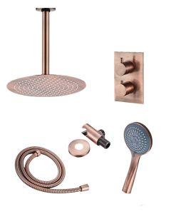 Saniclear Copper inbouw regendouche met plafondarm, 30cm hoofddouche en 3 standen handdouche