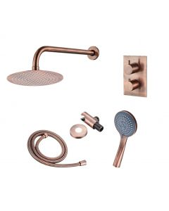 Saniclear Copper inbouw regendouche met wandarm, 30cm hoofddouche en 3 standen handdouche