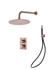 Saniclear Copper Pro inbouw regendouche met wandarm en 30cm hoofddouche geborsteld koper zwart