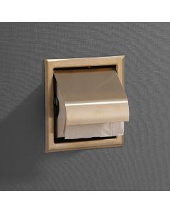 Saniclear inbouw toiletrol houder met klep geborsteld messing - mat goud