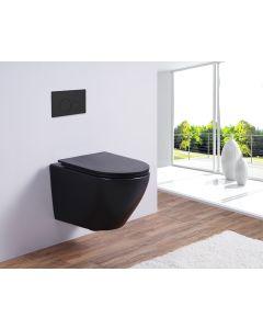Saniclear Jama mat zwarte toiletpot randloos met softclose zitting
