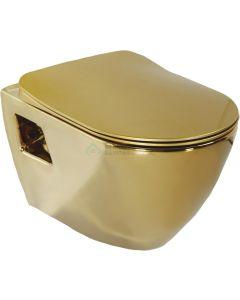 Creavit design ophang wc goud zonder sproeier wit van binnen (bidet),